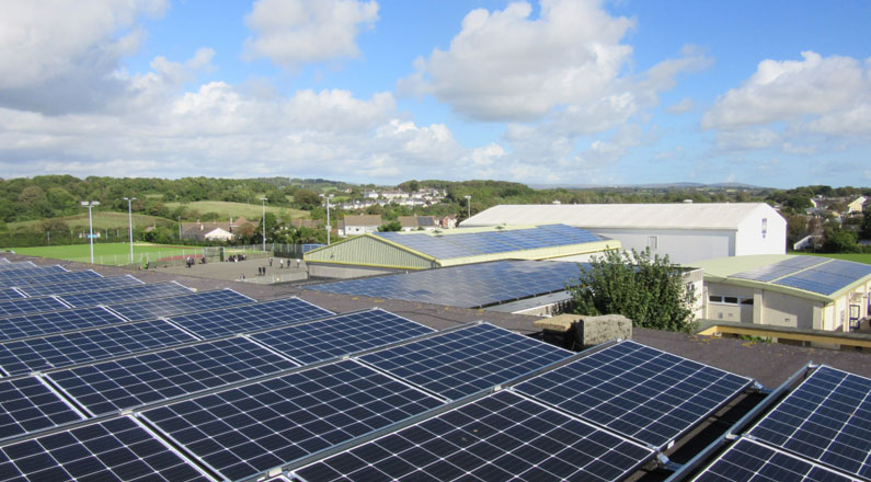 Carbeile School in Torpoint, where we installed 41.44kW PV system for TEC.