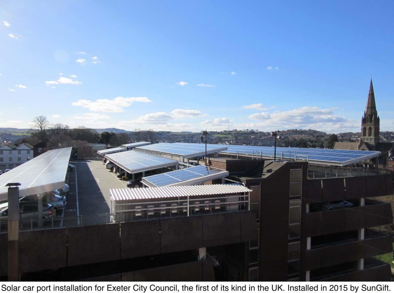 Exeter city council solar car ports